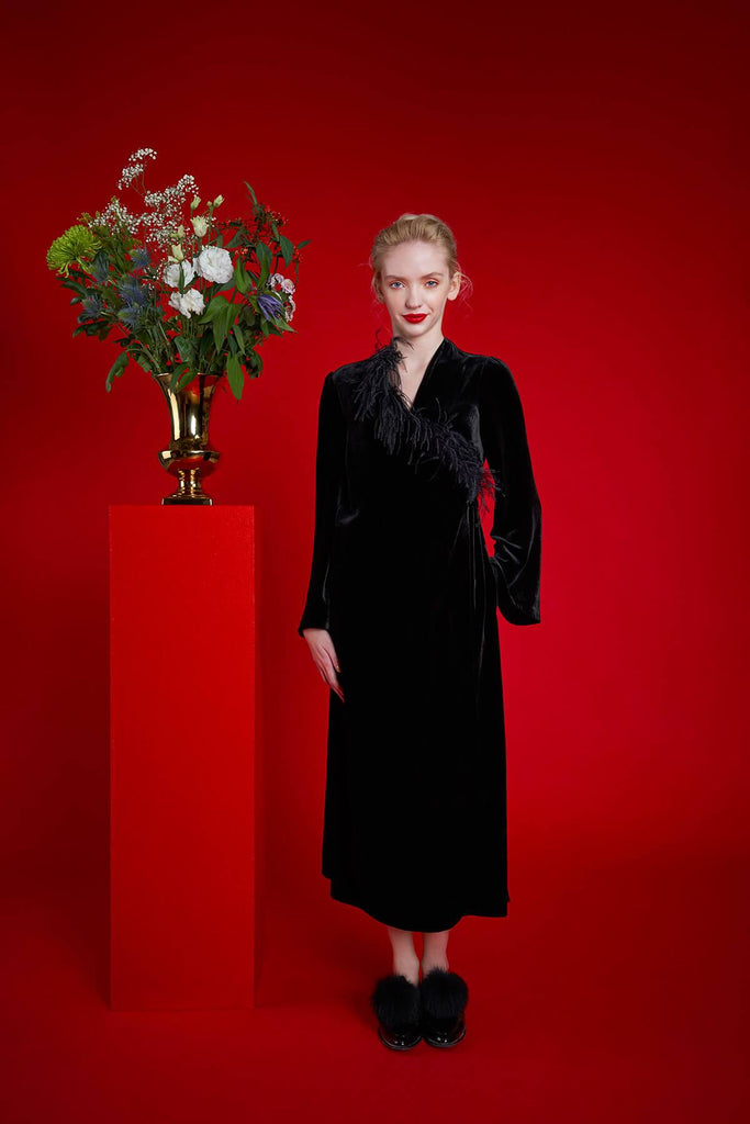 Longing For Sleep by Mart Ilison 2020 Holiday Collection Black Velvet Feather Wrap Dress