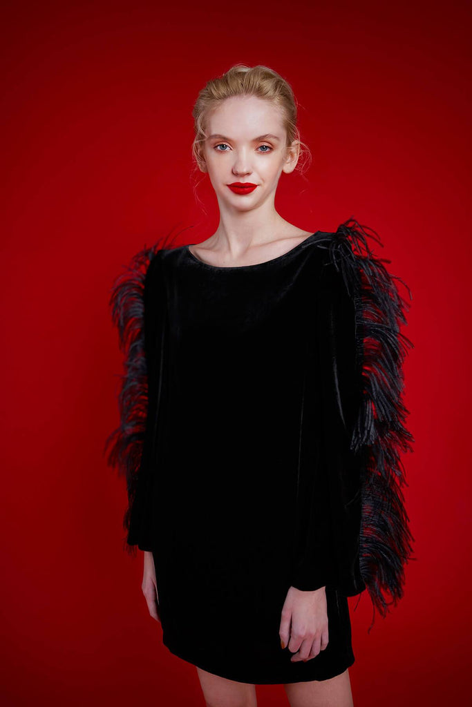 Longing For Sleep by Mart Ilison 2020 Holiday Collection Green Black Velvet Feather Sleeve Dress Front