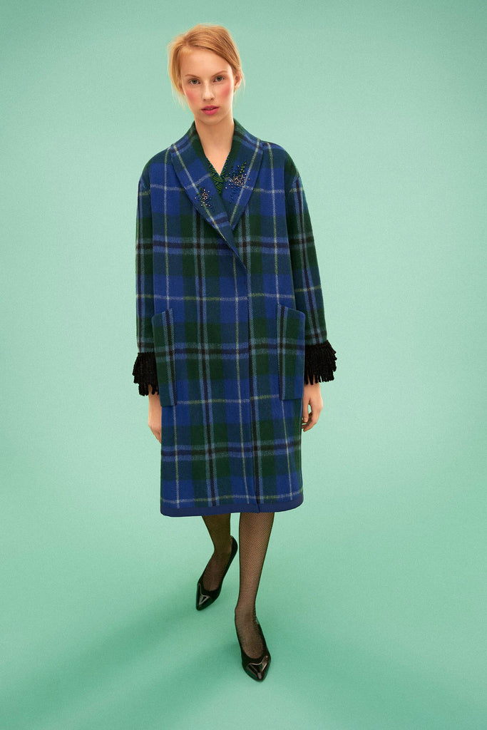 Longing For Sleep by Marit Ilison 2019 Collection 2 Recycled Wool Embroidered Douglas Tartan Fringe Coat