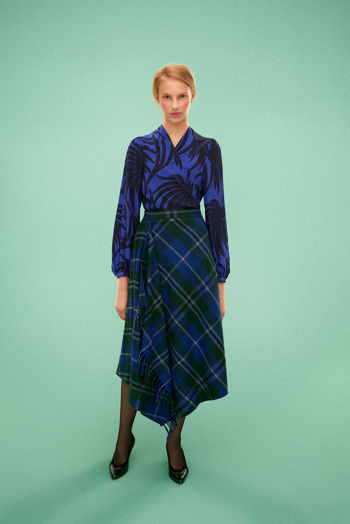 Longing For Sleep by Marit Ilison 2019 Collection 2 Printed Silk Wrap Blouse and Recycled Wool Draped Tartan Skirt Electric Blue Navy Douglas Tartan