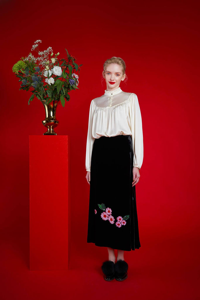 Longing For Sleep by Mart Ilison 2020 Holiday Collection Black Velvet A-Line Skirt Front