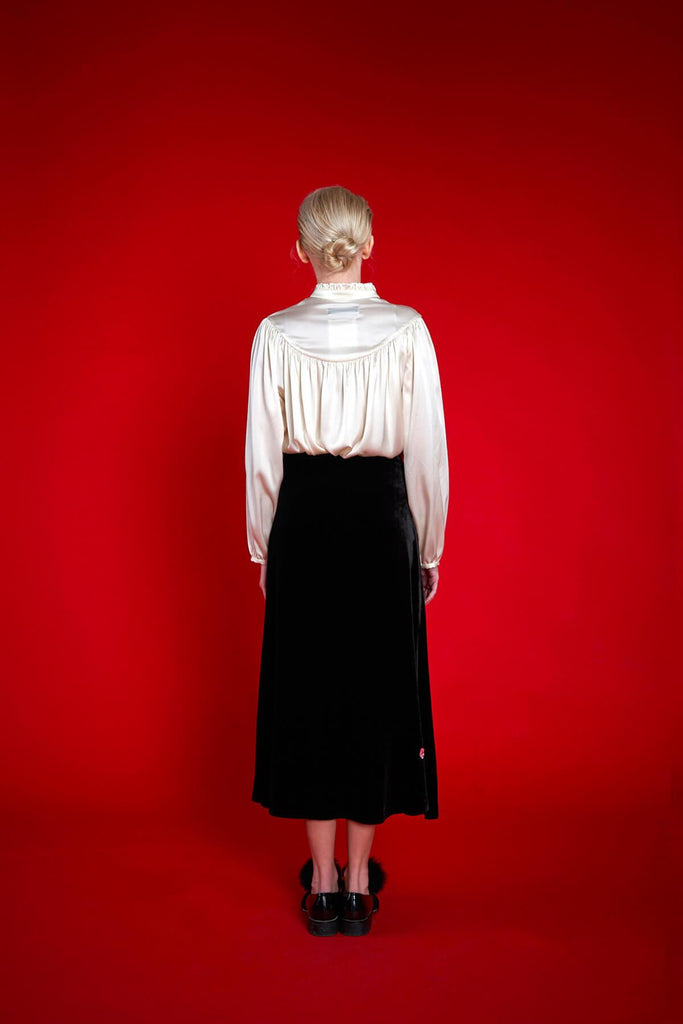 Longing For Sleep by Mart Ilison 2020 Holiday Collection Black Velvet A-Line Skirt Back