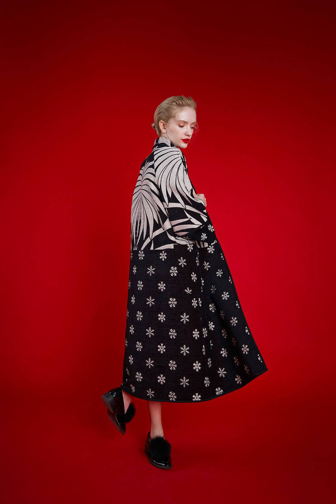 Longing For Sleep by Marit Ilison 2020 Holiday Collection Black White Chenille Jacquard Reversible Two Tone Coat Front