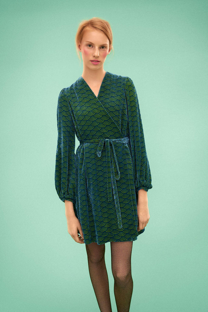 Longing For Sleep by Marit Ilison 2019 Collection 2 Blue Green Devore Velvet Wrap Dress