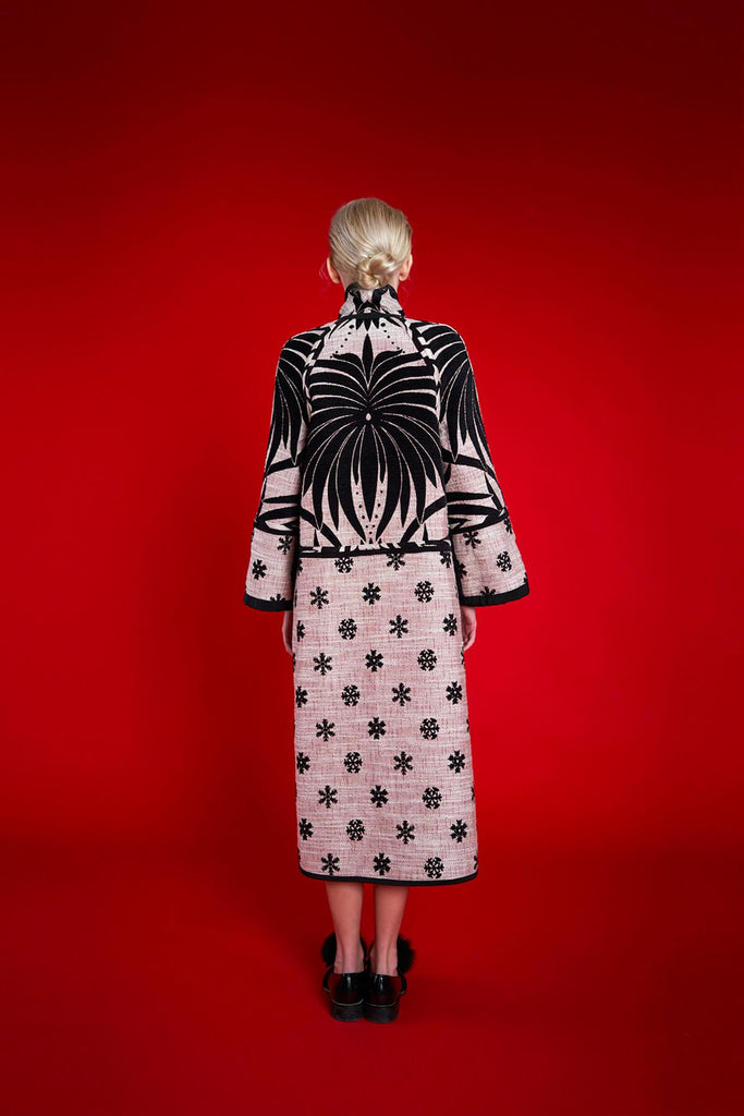 Longing For Sleep by Marit Ilison 2020 Holiday Collection Black White Chenille Jacquard Reversible Two Tone Coat Reversed Back
