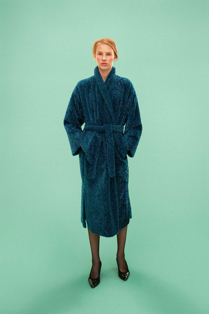 Longing For Sleep by Marit Ilison 2019 Collection 2 Teal Reversible Robe Coat Viscose Cotton Silk Lining