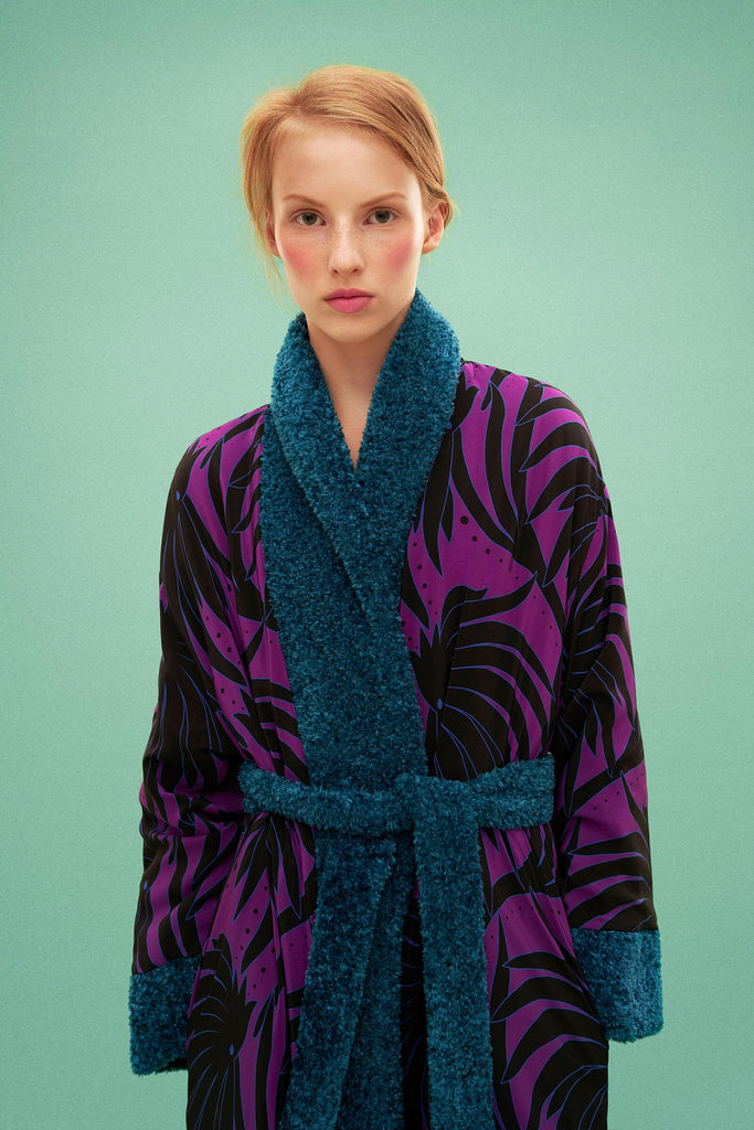 Longing For Sleep by Marit Ilison 2019 Collection 2 Teal Reversible Robe Coat Viscose Cotton Silk Lining Reversed Waterlily