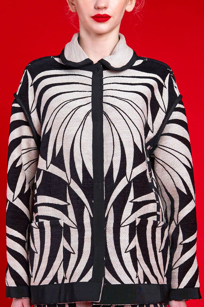 Longing For Sleep by Marit Ilison 2020 Holiday Collection Black White Reversible Water Lily Chenille Jacket Reversed Front