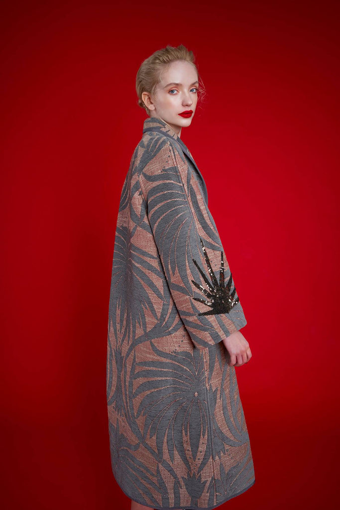Longing For Sleep by Marit Ilison 2020 Holiday Collection Grey Linen Embroidered Chenille Jacquard Reversible A-Line Coat Front