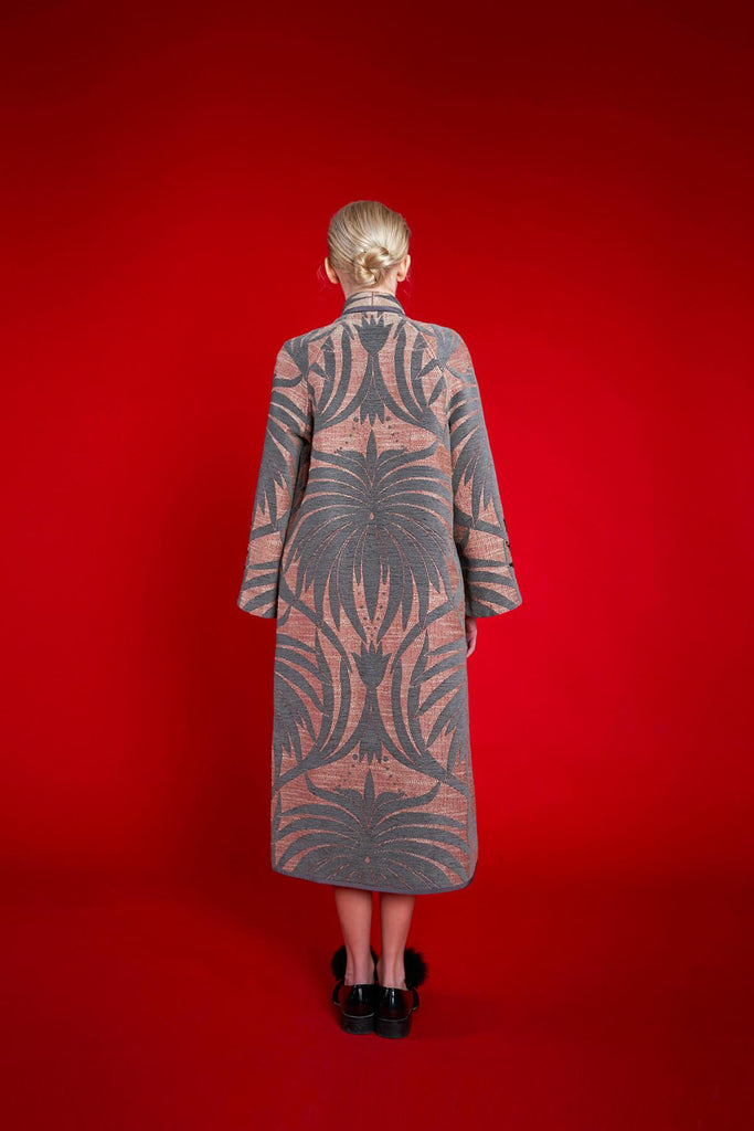 Longing For Sleep by Marit Ilison 2020 Holiday Collection Grey Linen Chenille Jacquard Reversible A-Line Coat Back