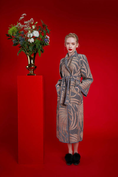 Longing For Sleep by Marit Ilison 2020 Holiday Collection Grey Linen Embroidered Chenille Jacquard Reversible A-Line Coat Reversed Back