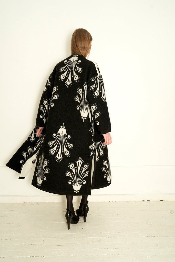 Woolen Jacquard Reversible Long Coat