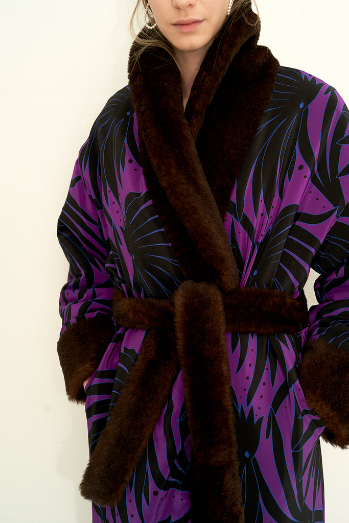 Woven Faux Fur Reversible Robe Coat