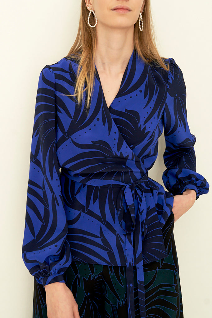 Printed Silk Wrap Blouse
