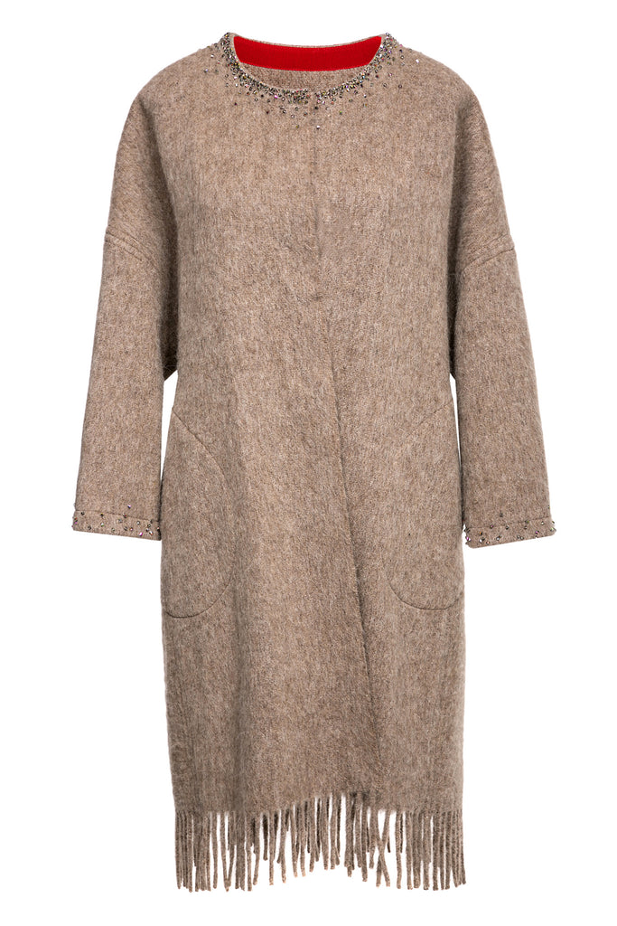 LFS ALPACA WOOL BLEND FRINGED COAT
