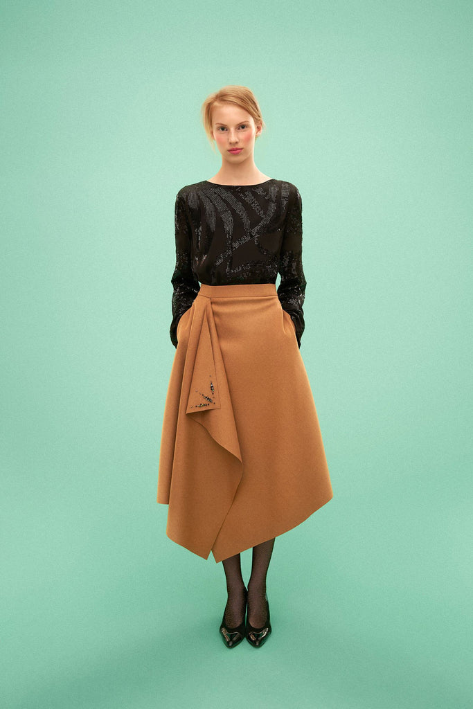 Longing For Sleep by Marit Ilison 2019 Collection 2 Woolen Swarovski Embroidered Draped Skirt Wool Camel