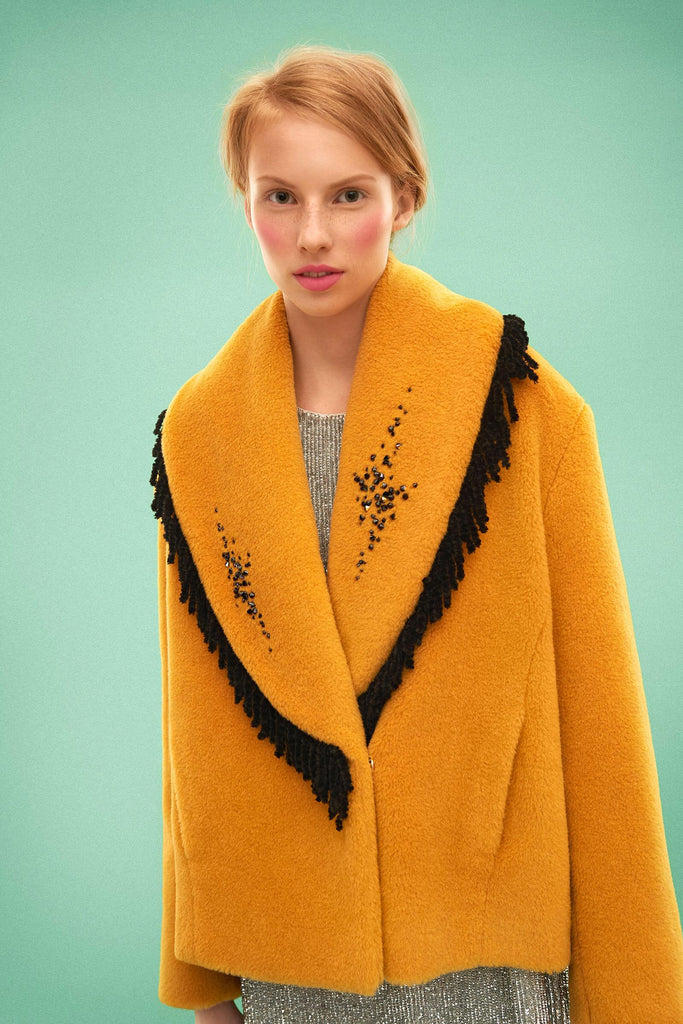 Longing For Sleep by Marit Ilison 2019 Collection 2 Woolen Swarovski Embroidered Fringed Curry Jacket