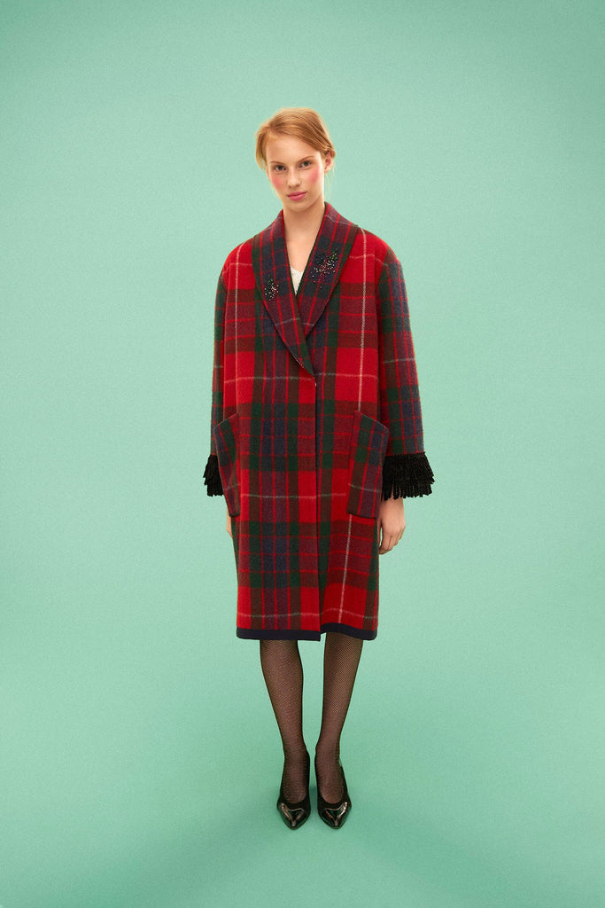 Longing For Sleep by Marit Ilison 2019 Collection 2 Recycled Wool Embroidered Fraser Red Tartan Fringe Coat