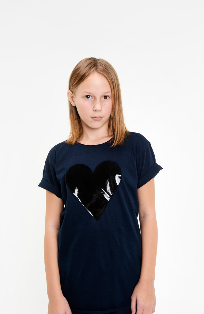 BLACK HEART KIDS RAW EDGE GLOSS NAVY T-SHIRT