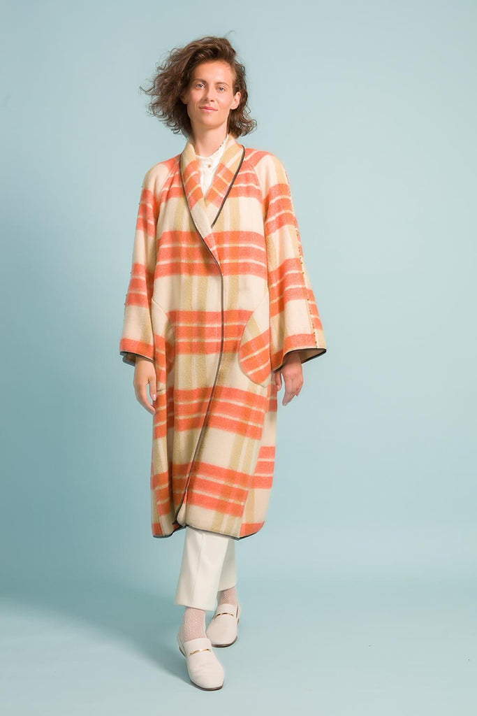 Longing For Sleep by Marit Ilison Upcycled Unique Wool Olive Peach Coat #46 Front