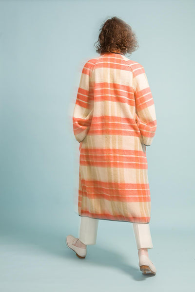 Longing For Sleep by Marit Ilison Upcycled Unique Wool Olive Peach Coat #46 Back