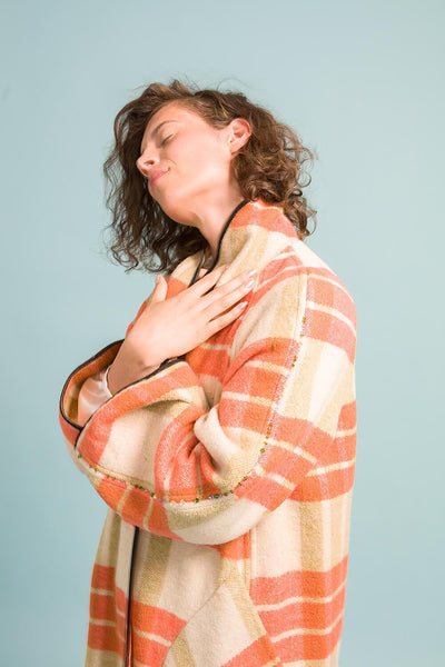 Longing For Sleep Marit Ilison Upcycled Unique Wool Olive Peach Coat #46 Sleeve Crystal Embroidery