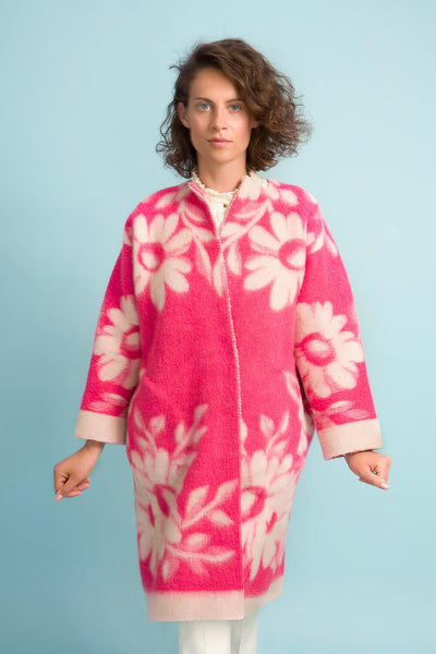 Longing For Sleep by Marit Ilison Unique Upcycled Wool Neon Pink Coat #48 Front
