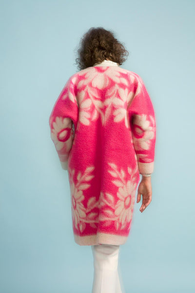 Longing For Sleep by Marit Ilison Unique Upcycled Wool Neon Pink Coat #48 Back