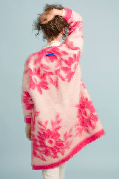 Longing For Sleep by Marit Ilison Unique Upcycled Wool Neon Pink Coat #48 Rerversible Back