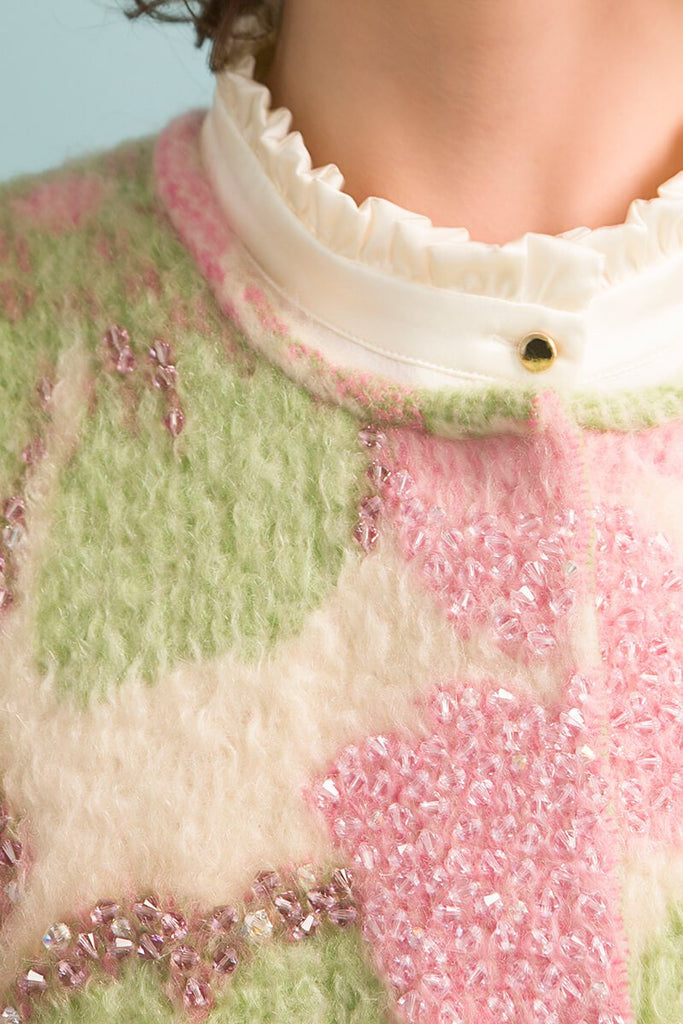 Longing For Sleep by Marit Ilison Unique Upcycled Wool Pastel Coat #49 Crystal Embroidery Detail