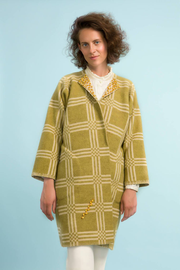 Longing For Sleep by Marit Ilison Unique Upcycled Wool Olive Coat #50 Front