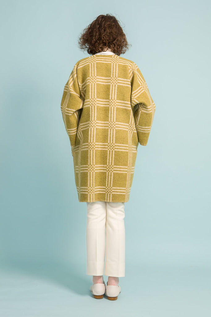 Longing For Sleep by Marit Ilison Unique Upcycled Wool Olive Coat #50 Back