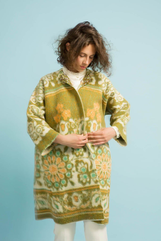 Longing For Sleep by Marit Ilison Unique Upcycled Wool Mixed Color Coat #51 Front