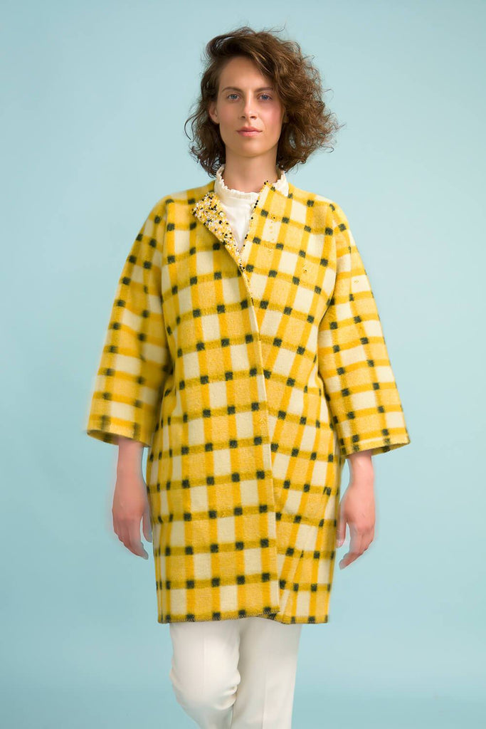Longing For Sleep by Marit Ilison Unique Upcycled Wool Yellow Coat #53 Front