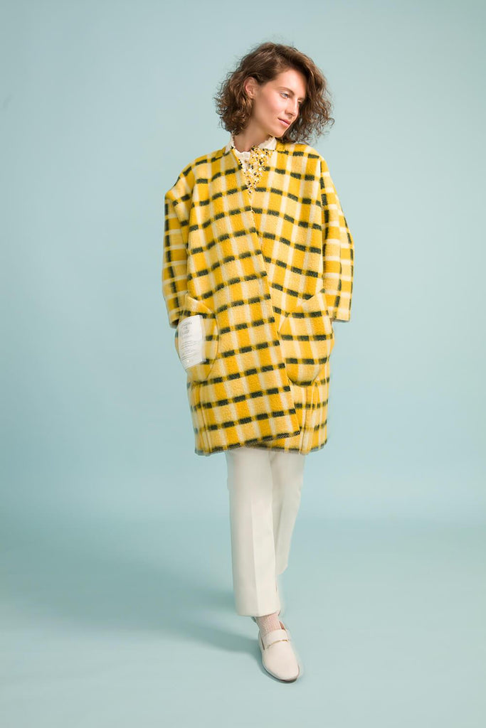 Longing For Sleep by Marit Ilison Unique Upcycled Wool Yellow Coat #53 Front Reversible