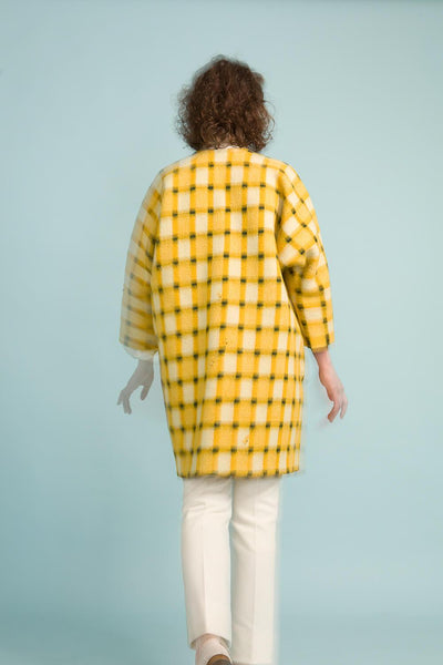 Longing For Sleep by Marit Ilison Unique Upcycled Wool Yellow Coat #53 Back