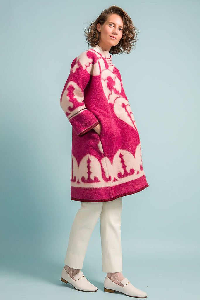 Longing For Sleep by Marit Ilison Unique Upcycled Wool Magenta Coat #54 Front