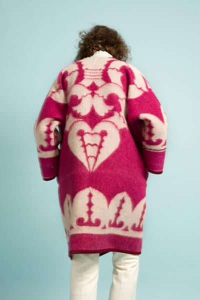 Longing For Sleep by Marit Ilison Unique Upcycled Wool Magenta Coat #54 Back