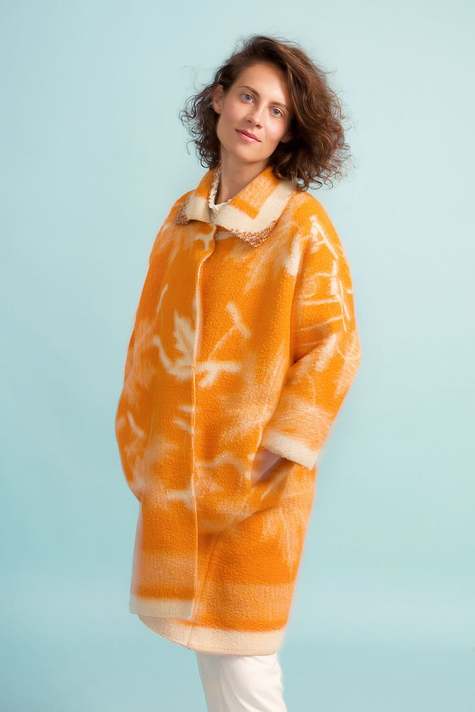 Longing For Sleep by Marit Ilison Unique Upcycled Wool Orange Coat #55 Front