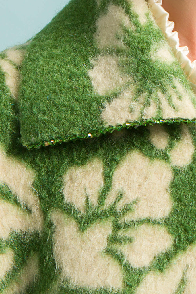 Longing For Sleep by Marit Ilison Unique Upcycled Wool Green Coat #57 Front Crystal Detail