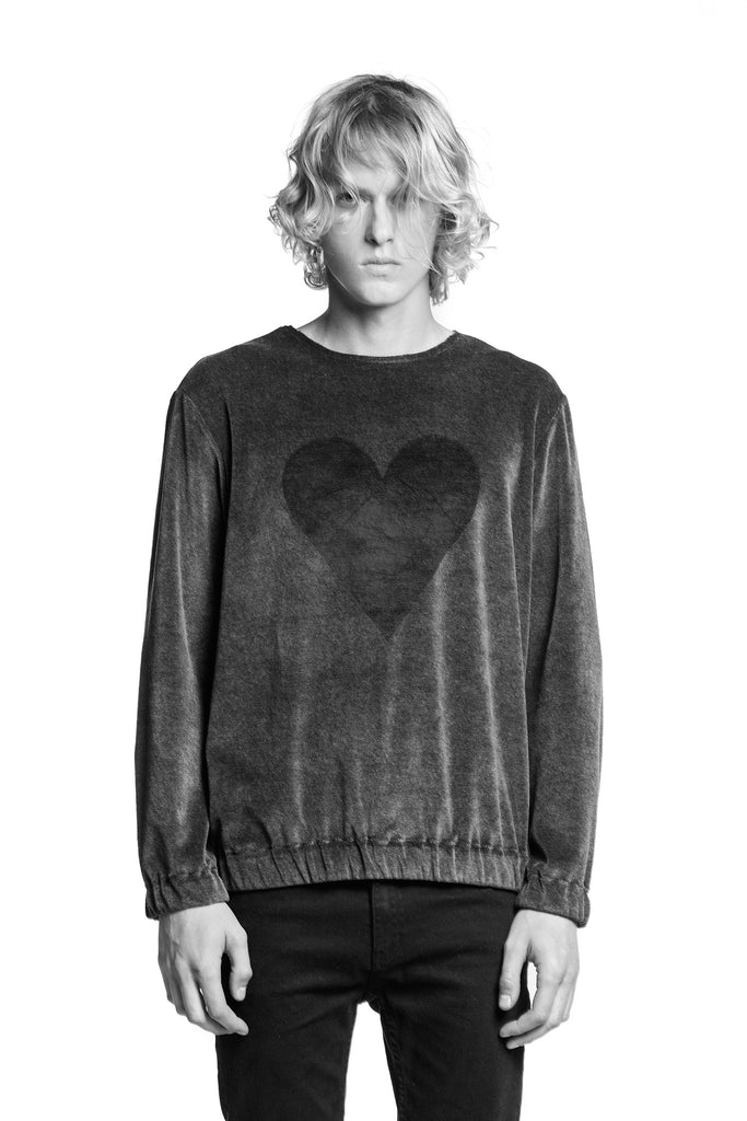Marit Ilison Black Heart Grey Cotton Velvet Sweatshirt Elastic