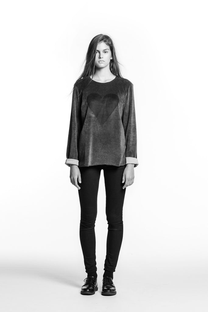 Marit Ilison Black Heart Grey Cotton Velvet Sweatshirt Regular