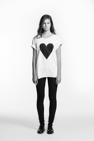 Marit Ilison Black Heart White T-shirt