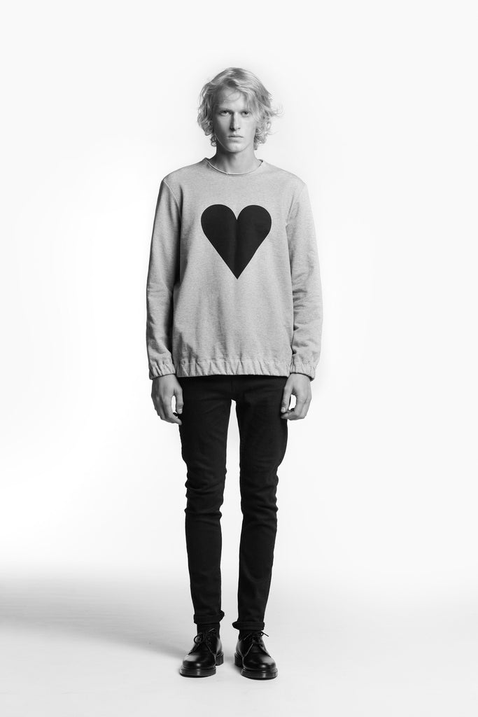 Marit Ilison Black Heart Grey Melange Sweatshirt Elastic
