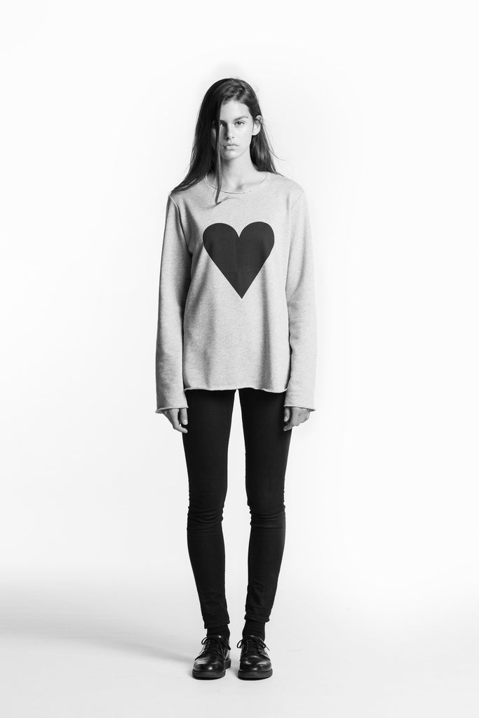 Marit Ilison Black Heart Grey Melange Sweatshirt Regular