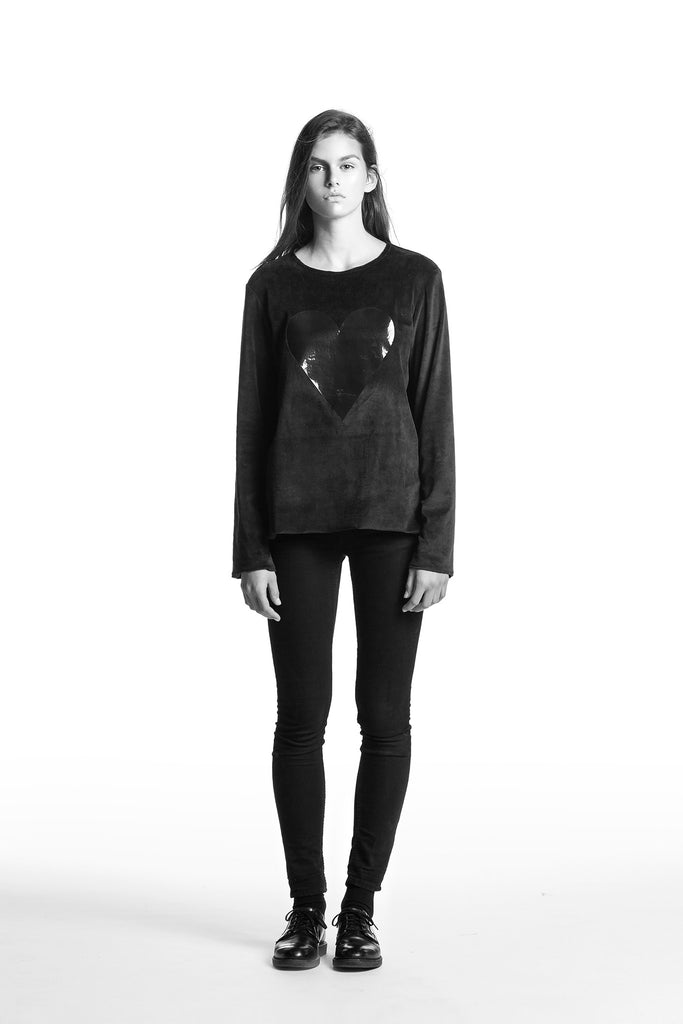 Marit Ilison Black Heart Black Cotton Velvet Sweatshirt Regular