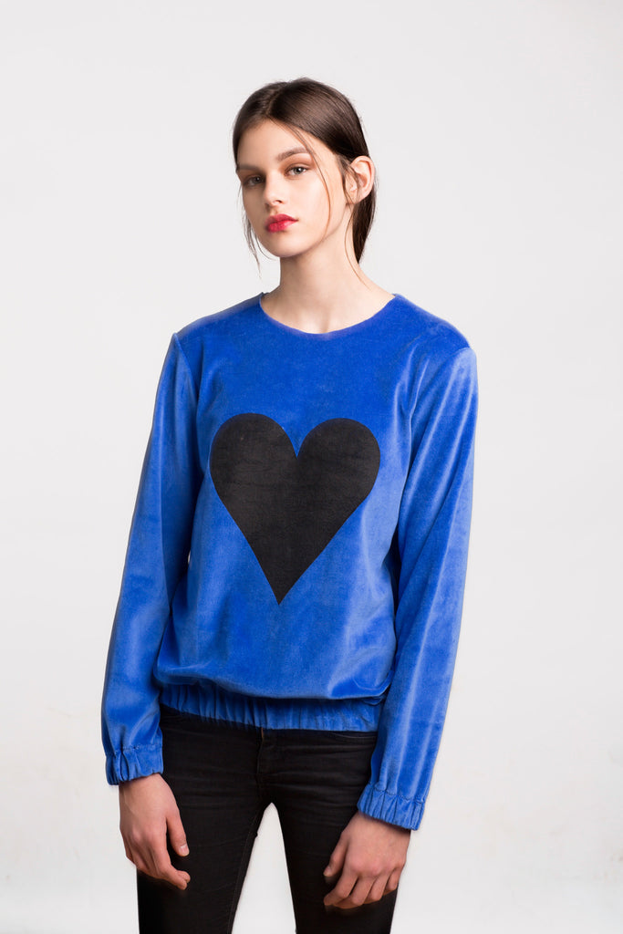 Marit Ilison Black Heart Royal Blue Cotton Velvet Sweatshirt