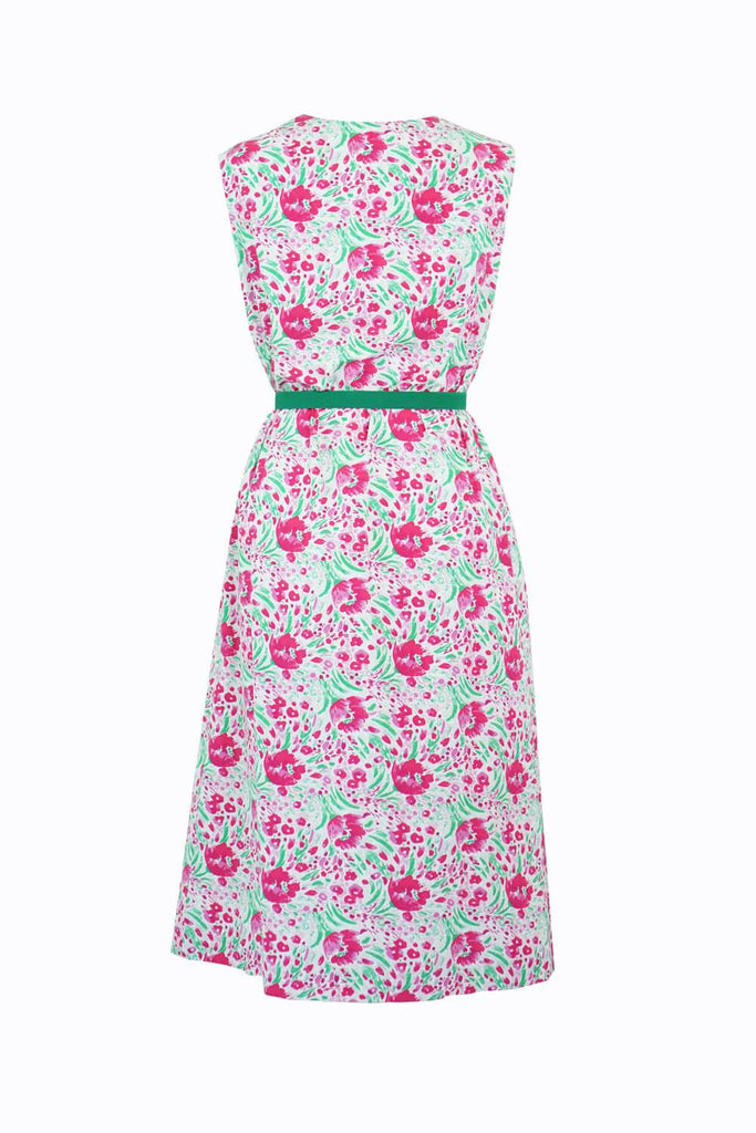 Sleeveless Cotton Smock Dress Pink Tulips
