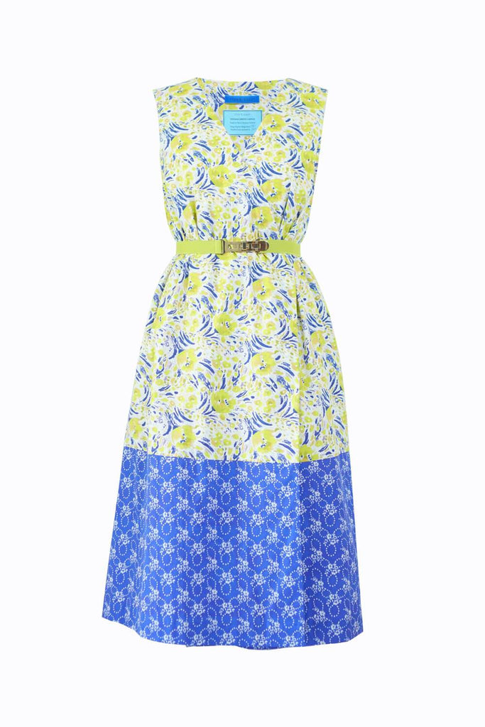 Cotton Smock Dress Yellow Tulips Dancing Dots