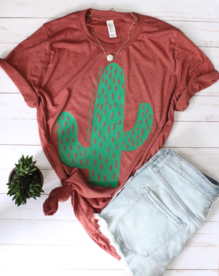 Bloom Where You're Planted Cactus tee